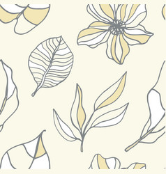beautiful tropical leaves and flowers pattern vector image