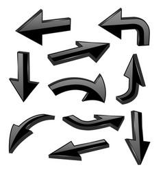 black bold arrows 3d shiny signs vector image