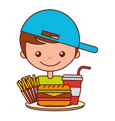 boy with burger soda and french fries vector image