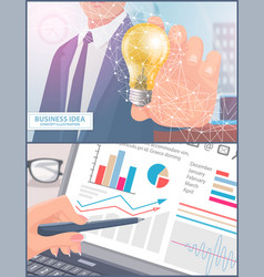 Business idea and analyzing process set vector