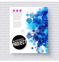 Business Web Template with Abstract Blue Hexagons vector image