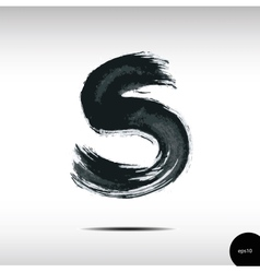 Calligraphic watercolor letter S vector image