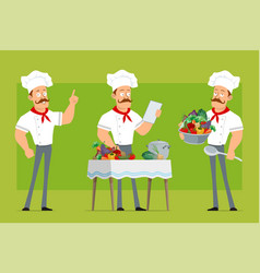 cartoon flat strong chef cook man character set vector image