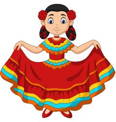 cartoon girl dancing cinco de mayo celebration vector image