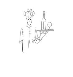 cartoon image of waiter vector image