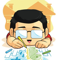 Cartoon of Boy Loves Drawing Doodling vector image