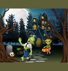 Cartoon of two zombie in front of the haunted hous vector