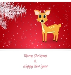 Christmas card in red On her white spruce vector image