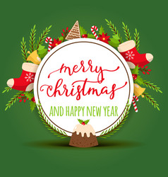 christmas merry xmas greeting card vector image