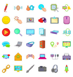 computer network icons set cartoon style vector image