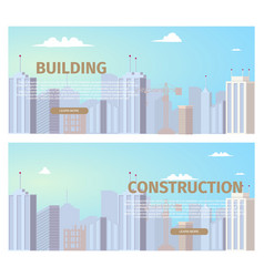 construction business flat web banners set vector image