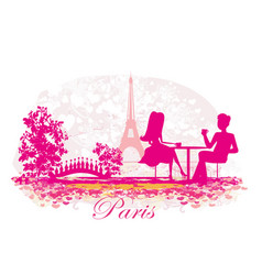 couple in parisian cafe vector image