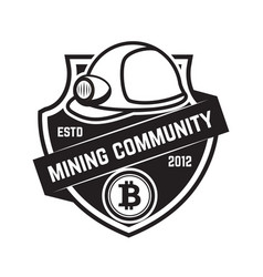 cryptocurrency mining emblem isolated on white vector image