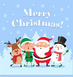 Cute christmas greeting card singing santa claus vector