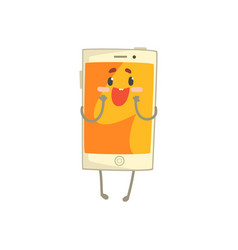 cute surprised smartphone character with an orange vector image