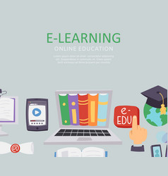 E-learning education school university vector