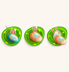 easter egg with a pattern bunny ears a willow vector image