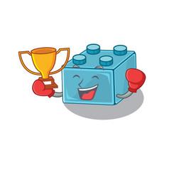 Fantastic boxing winner lego brick toys in vector