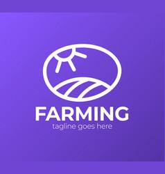 farm logo template meadow silhouette land vector image
