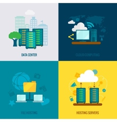 File hosting flat icons composition vector image