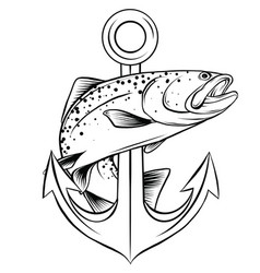 fish anchor line art quality vector image