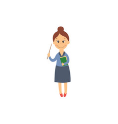 flat cartoon cute teacher woman vector image