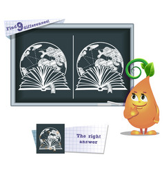 Game find 9 differences reading book vector