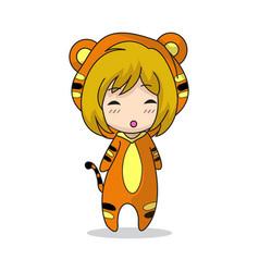 Girl character design mascot tiger vector