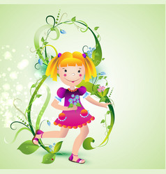 girl with spring flowers vector image vector image