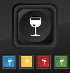 Glass of wine icon symbol Set of five colorful vector