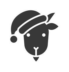 goat wearing santa hat silhouette icon design vector image