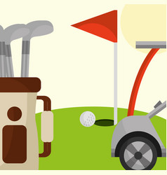 golf club car bag and red flag in the field vector image