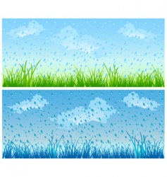 grass and rain vector image
