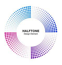 halftone colorful circle frame dots logo emblem vector image