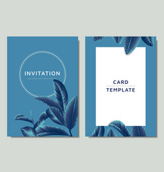 hand drawn tropical blue guava leaves on blue vector image