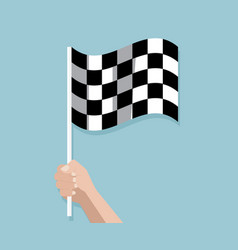 hand holding checkered race finish flag vector image