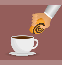 Hand with coffee cup bread dessert vector