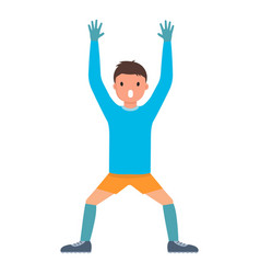 hands up goalkeeper icon flat style vector image