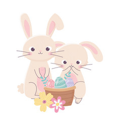 happy easter day cute rabbits eggs in basket vector image