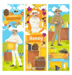 Honey from beekeeping farm beekeeper vector