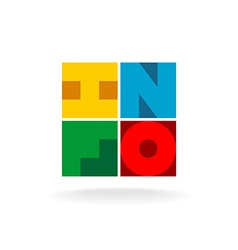 Info title logo Colorful INFO letters in a squares vector