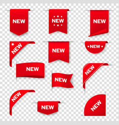 labels banners for web page new tags red badges vector image