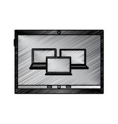 laptop computers on tablet screen icon image vector image