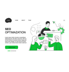 male and female characters are working on seo vector image
