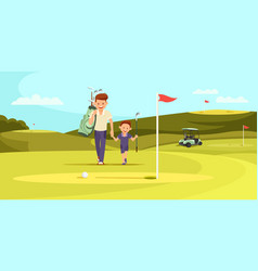 Man in sport suit with golf clubs walking with son vector