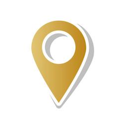 mark pointer sign golden gradient icon vector image