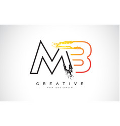 Mb creative modern logo design with orange and vector