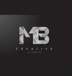 Mb m b letter logo with zebra lines texture vector