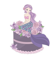 Mermaid birthday floral sweet princess illu vector