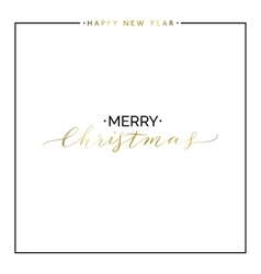 Merry Christmas gold text set happy new year vector